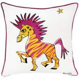 "Punk Rock Zebra White and Pink 18"" Square Decorative Pillow"