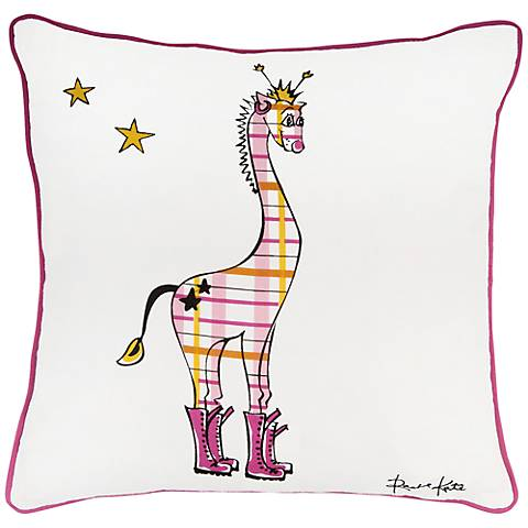 "Punk Rock Giraffe White and Pink 18"" Square Pillow"