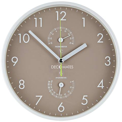 """Decomates Taupe and White 10"""" Round Wall Clock"""