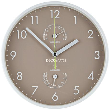 "Decomates Taupe and White 10"" Round Wall Clock"