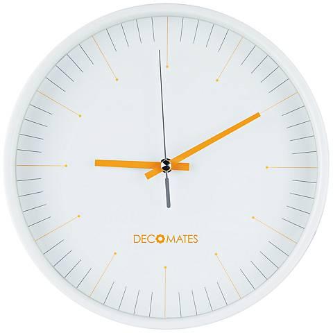 "Decomates Orange White 10"" Round Wall Clock"