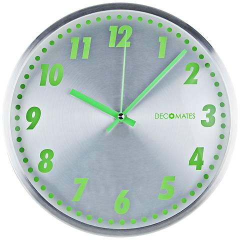 "Decomates Aluminum 12 1/4"" Round Green Wall Clock"