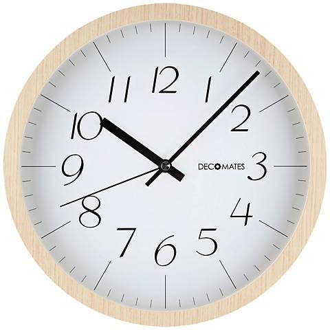 "Decomates Modern 12"" Round Light Brown Wood Clock"