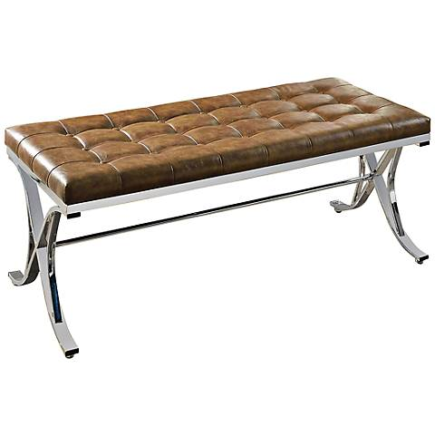 Royce Brown Faux Leather Tufted Bench