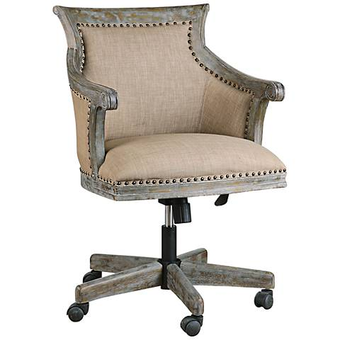 Uttermost Kimalina Silver Leaf Linen Swivel Office Chair