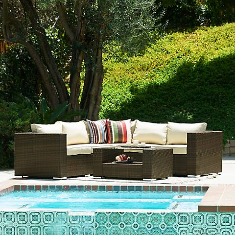 Sag Harbor 4-Piece Wicker Outdoor Sectional Sofa Set