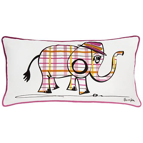 "Punk Rock Elephant White and Pink 21"" x 11"" Pillow"