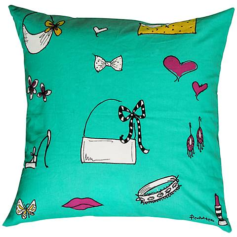 "Purses Teal and Pink 18"" Square Decorative Pillow"
