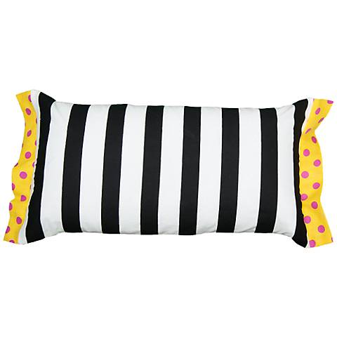 """Black and White Striped and Polka Dot 21"""" x 11"""" Pillow"""