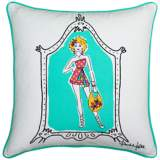 "Lady in Style Teal Trim 18"" Square Decorative Pillow"