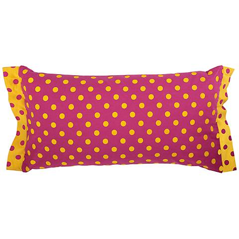 "Pink and Yellow Polka Dot 21"" x 11"" Decorative Pillow"