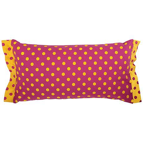 "Pink and Yellow Polka Dot 21"" x 11"" Decorative Pillow"