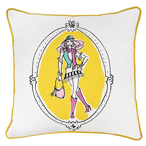 "Lady in Style Yellow Trim 18"" Square Decorative Pillow"