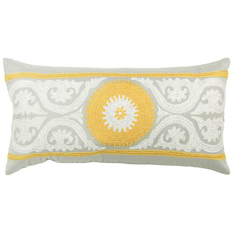 """Gray and Yellow 21"""" x 11"""" Embroidered Throw Pillow"""