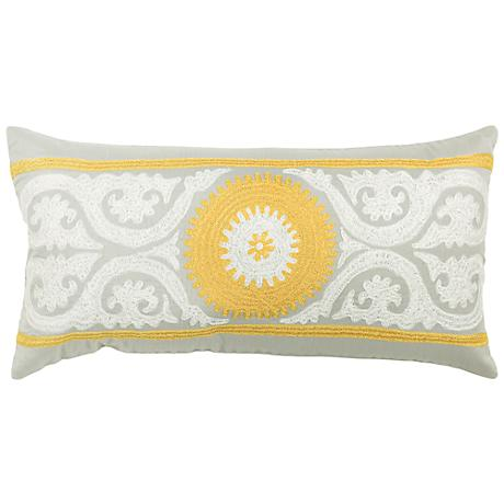"Gray and Yellow 21"" x 11"" Embroidered Throw Pillow"