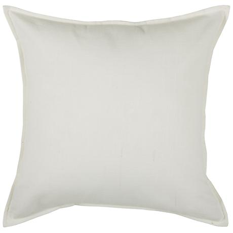 """Off-White Self-Flange 20"""" Square Throw Pillow"""