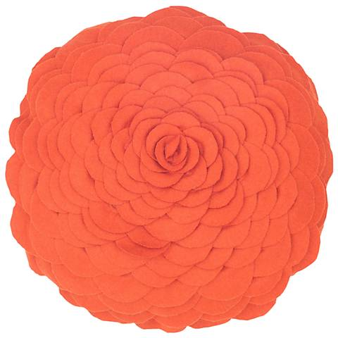"Blooming Flower 14"" Round Orange Throw Pillow"