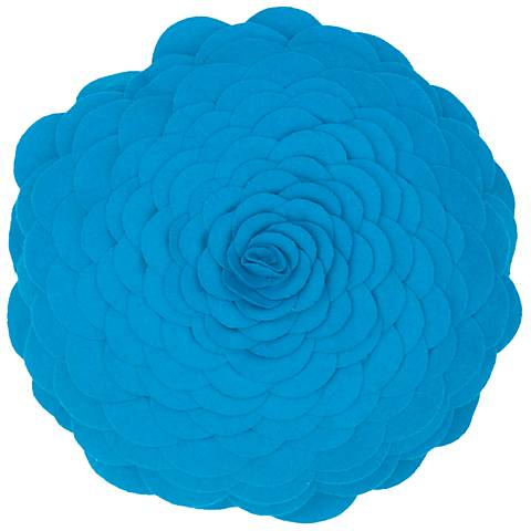 "Blooming Flower 14"" Round Blue Throw Pillow"