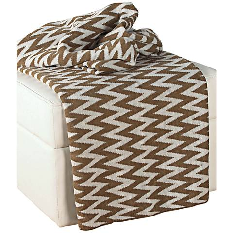 Brown and White Chevron Throw Blanket