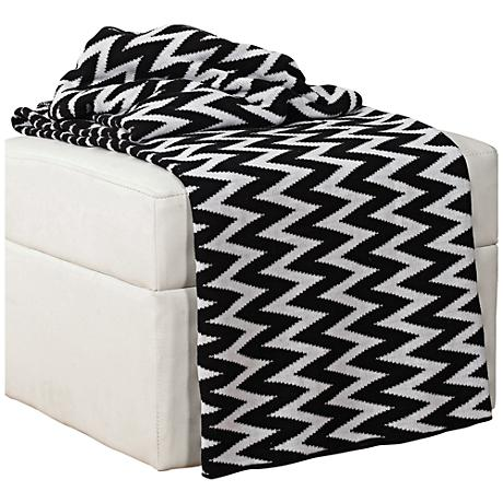 black and white chevron throw blanket 6k502 lamps plus. Black Bedroom Furniture Sets. Home Design Ideas