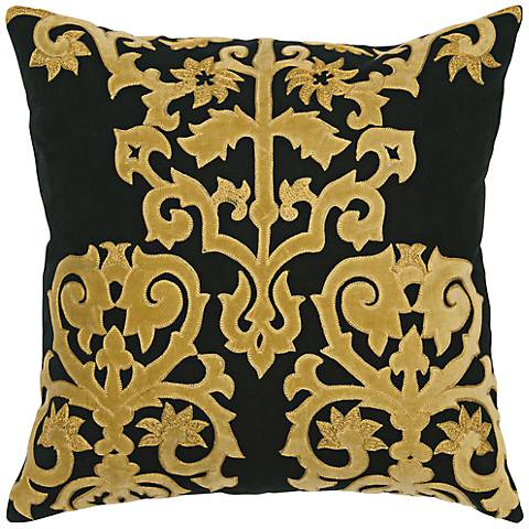 "Ornamental 18"" Square Black and Gold Throw Pillow"