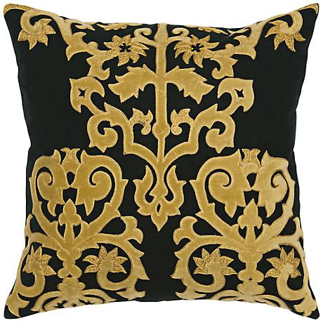 """Ornamental 18"""" Square Black and Gold Throw Pillow"""