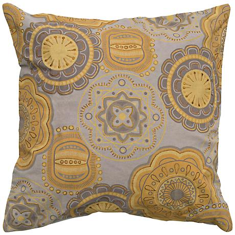 "Abstract Floral 20"" Square Taupe and Mustard Throw Pillow"