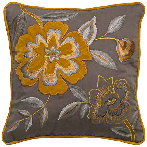 "Gray and Mustard 18"" Square Floral Throw Pillow"