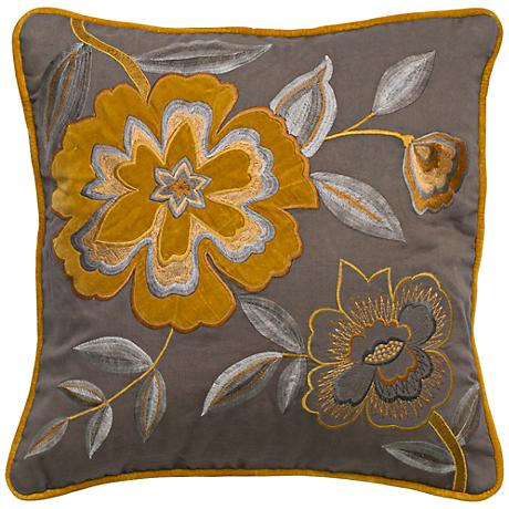 """Gray and Mustard 18"""" Square Floral Throw Pillow"""