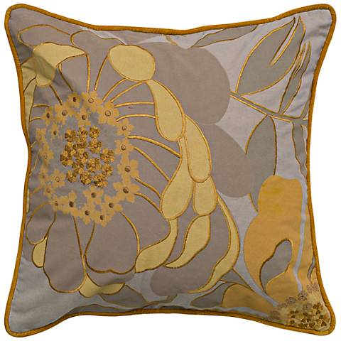 "Taupe and Mustard 20"" Square Floral Throw Pillow"