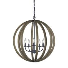 "Feiss Allier 26"" Wide Weathered Oak Wood Pendant Light"
