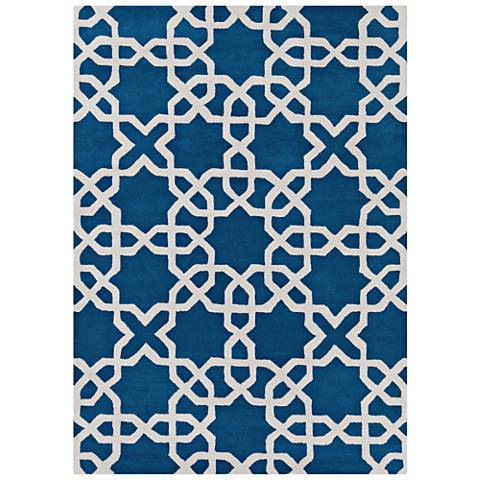 Chandra Davin DAV25804 Blue Wool Area Rug