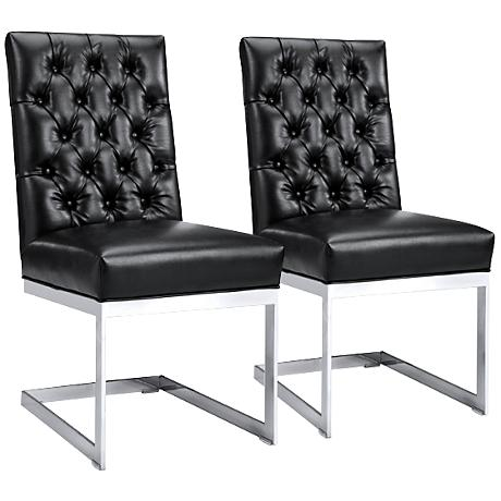 Cavalli Black Leather Tufted Dining Chairs Set of 2