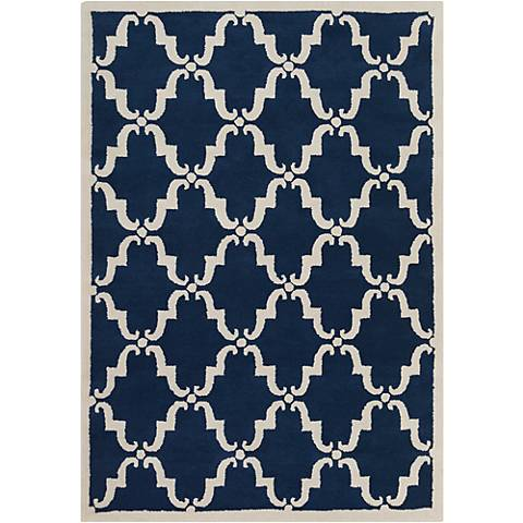 Chandra Davin DAV25825 Navy Wool Area Rug