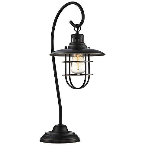 Lite Source Laterna II Deep Bronze Metal Table Lamp