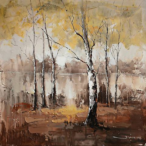 """Autumn Mist 40"""" Square Abstract Canvas Wall Art"""