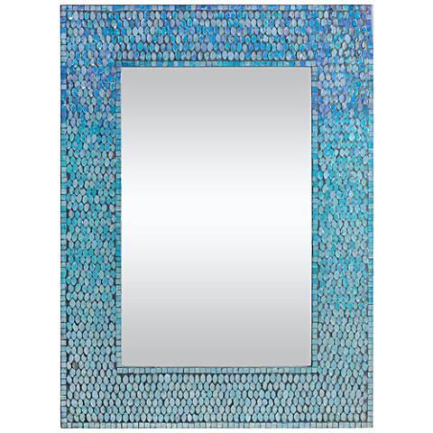 """Catarina Tropical Sea Blue 23"""" x 31"""" Mosaic Wall Mirror"""