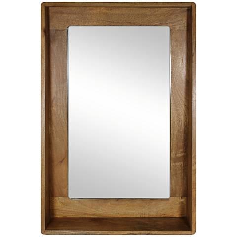 """Ingrid Natural Wood 24"""" x36"""" Shelf-Frame Wall Mirror"""