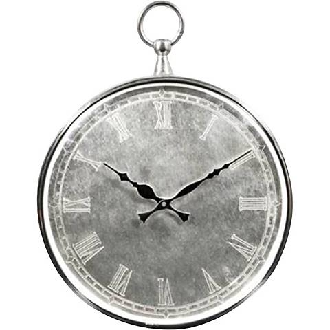 "Bryony Brushed Metal 14"" High Silver Wall Clock"