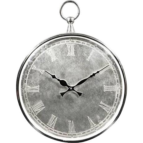 """Bryony Brushed Metal 14"""" High Silver Wall Clock"""