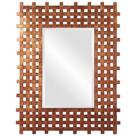 "Howard Elliott Burma Rustic Gold 31"" x 39"" Wall Mirror"