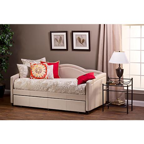 Hillsdale Jasmine Linen-Stone Fabric Trundle Daybed
