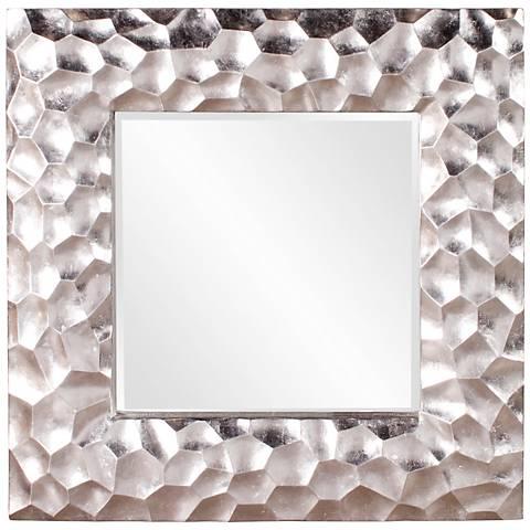 """Howard Elliott Marley Silver Leaf 39"""" Square Wall Mirror"""