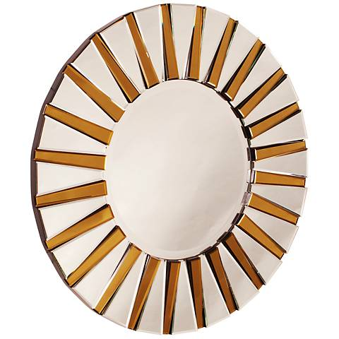 "Howard Elliott Colleen Yellow 36"" Round Wall Mirror"