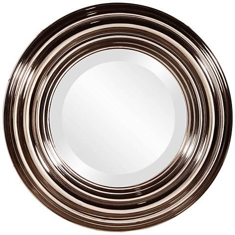 """Howard Elliott Val Bright Nickel 15"""" Round Wall Mirror"""