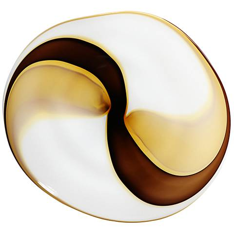 """Coffee Swirl 21"""" Wide Blown Glass Wall Art"""