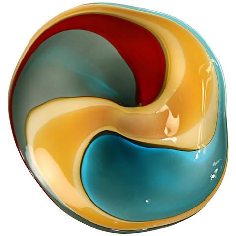 "Blue Red Swirl 12"" Wide Blown Glass Wall Art"