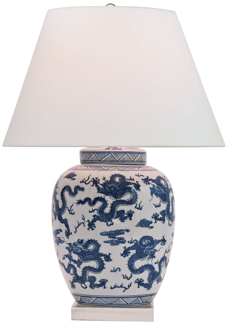 Attractive Dragon Navy And White Porcelain Table Lamp
