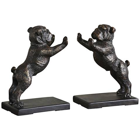 Uttermost Golden Bronze Iron Bulldogs Bookends Set