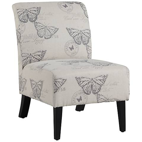 Lily Butterfly Linen Accent Chair